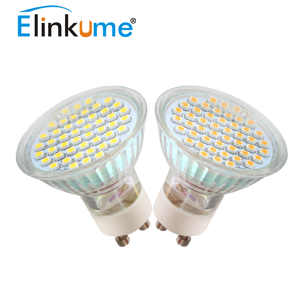 elinkume gu10 led bulb 2w 3w spotlight bulb 48 60pcs smd3528 home lamp with glass cove ac 220v. Black Bedroom Furniture Sets. Home Design Ideas