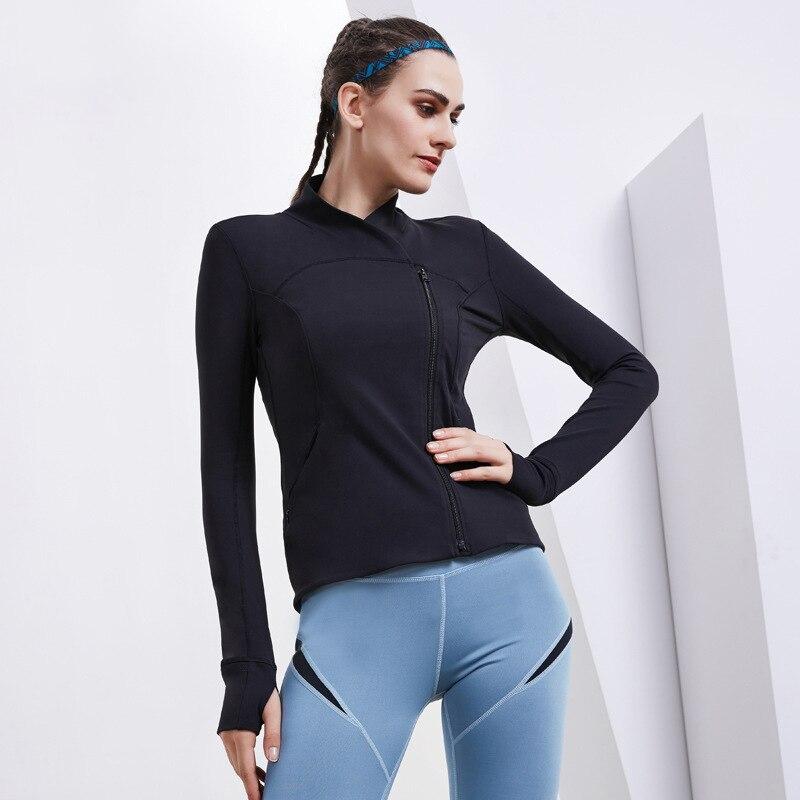 Femmes sport haut à revers Nylon Spandex élastique respirant mince manches longues séchage rapide solide veste à glissière course Sportswea