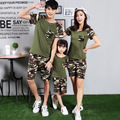 Parent-child outfit new summer wear short-sleeved army green camouflage leisure sports suit and wear three family pack