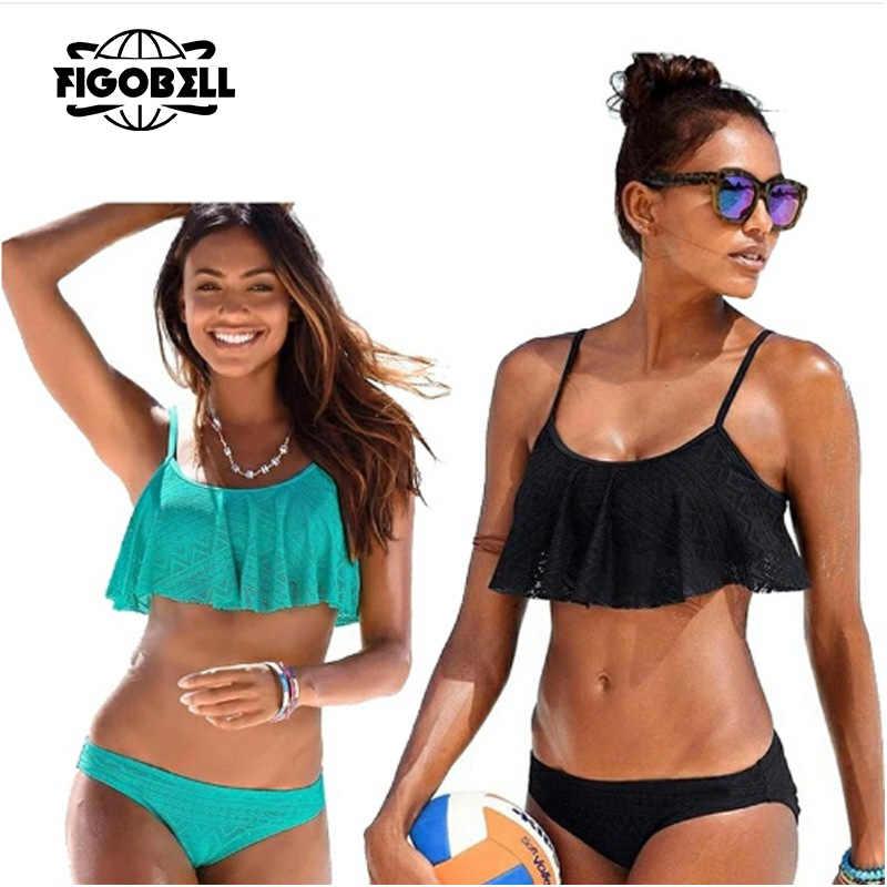 Sexy Bikini Wanita Pakaian Renang Push Up Swimwear Perban Memotong Lubang Brasil Bikini Set Ruffle Pakaian Renang Berenang Memakai