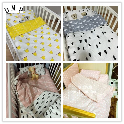 Promotion! 3PCS Baby Cot Baby Bedding Set Character Crib Cotton Bedclothes ,include(Duvet Cover/Sheet/Pillow Cover)