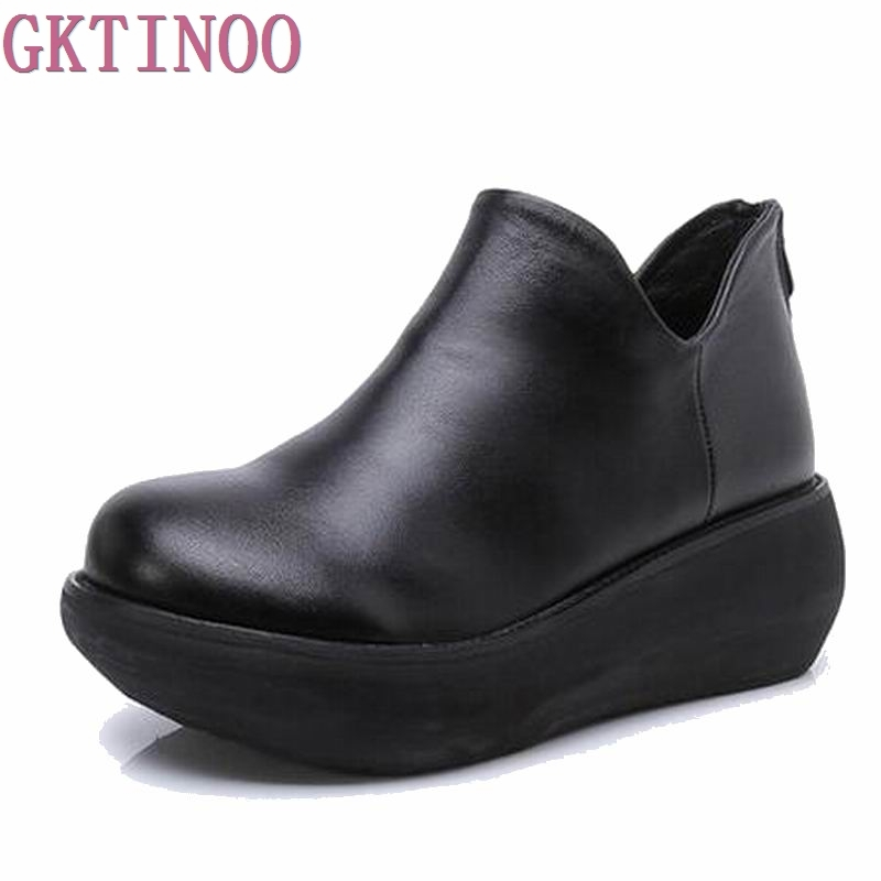 Women Boots 2018 Fashion Shoes Woman Genuine Leather Wedges Ankle Boots Spring Autumn Casual Women Boots Women Shoes T2074 2017 handmade casual women shoes genuine leather women boots martins spring
