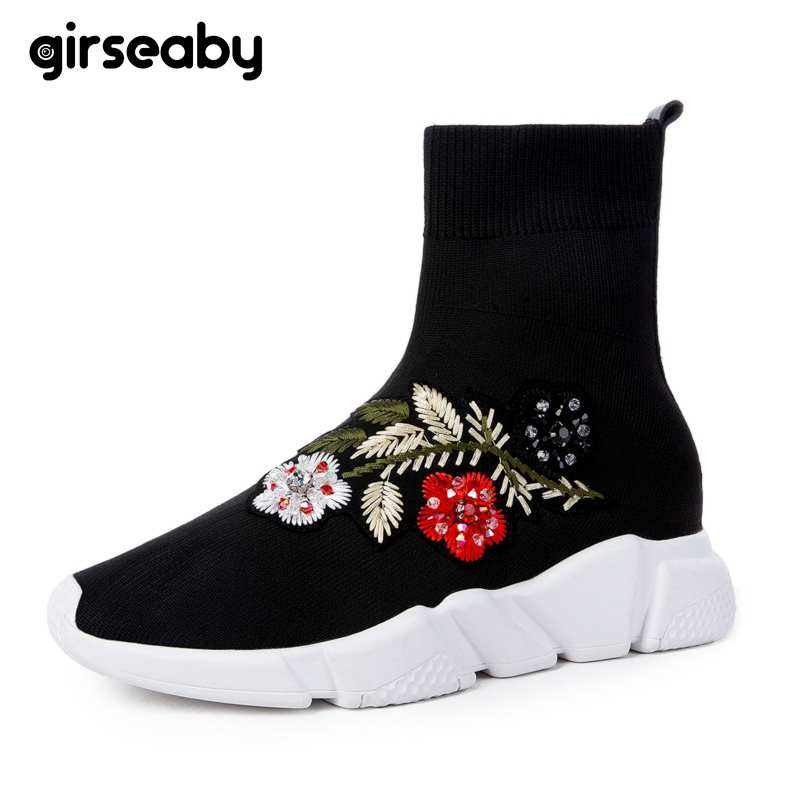 Girseaby NEW Embroidered flower sneakers knitting Winter Woman Shoes Ankle flat Boots Female Platform rhinestone slip on Black