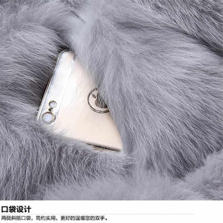 Жилет из искусственного меха 2018 зима пушистые 6XL мех лисы с капюшоном пальто из искусственного меха красный/серый/черный/mex Для женщин искусственная меховая куртка S/XXXL
