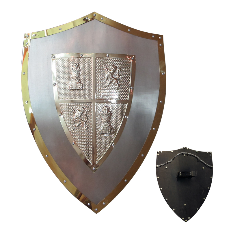 Medieval Shield European Knight Shields Real Steel Made Metal Cross Hand Held Decorative Display A08