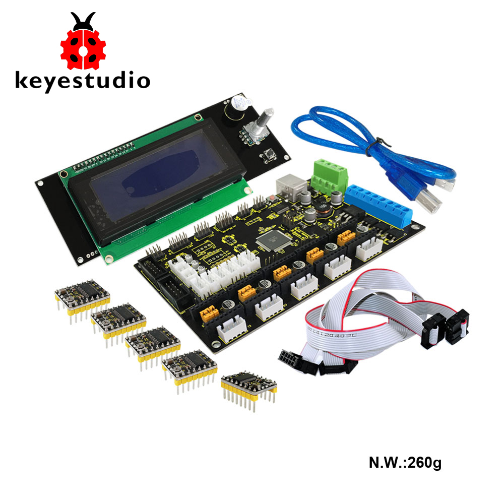 Free shippin! 3 D printer kit for arduino MKS GEN V1.2+2004LCD control+ 5x8825 drive+USB+adaptor