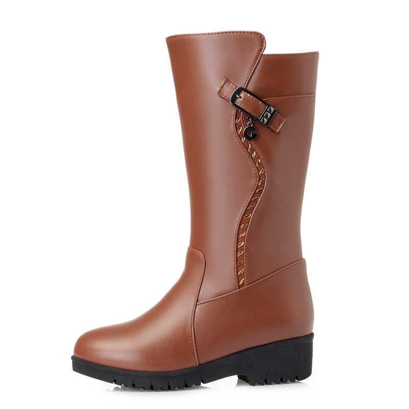 GKTINOO kışlık botlar yün kürk sıcak ayakkabı kadın takozlar topuklu yumuşak deri ayakkabı platformu kar botları ayakkabı Botas