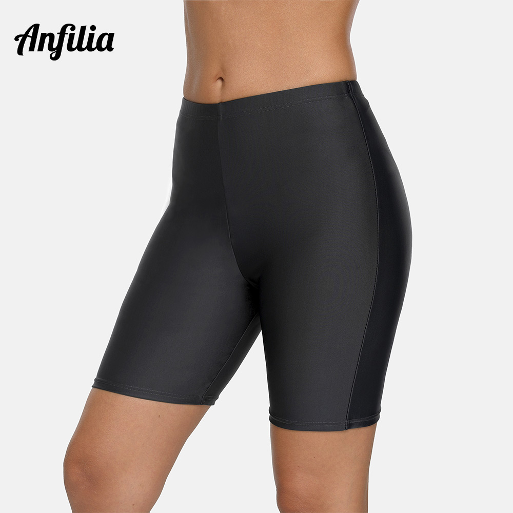 Anfilia Women Capris Swimming Trunks Ladies Bikini Bottom Sports Swimwear Briefs Slim Tankini Swimming Trunks