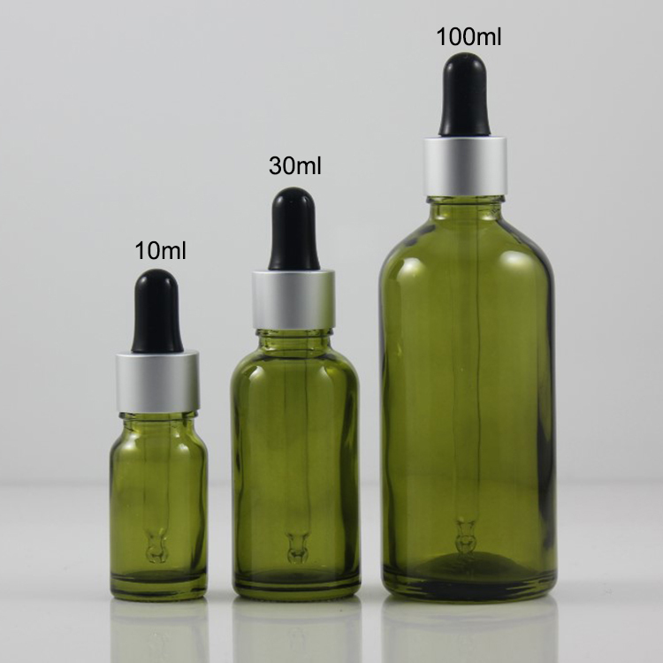 100pcs empty olive green 30 ml dropper bottle for essential oils olive green glass 30ml