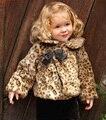 Новый 2015 девушка леопард кашемировые пальто девочка зима теплая верхняя одежда новый конструктор малыш куртки ну вечеринку высокое качество roupa infantis menina