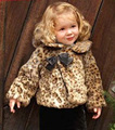 New 2015 girl Leopard Cashmere Coat Girl Winter Warm Outerwear new designer Kid Jackets party high quality roupa infantis menina