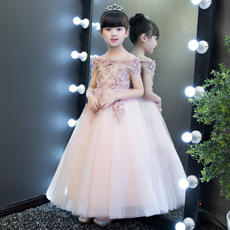 Glizt Pink Tulle Appliques   Girl   first communion   dresses   Vestido Daminha Casamento Party Ball Gown Organza   Flower     Girl     Dresses