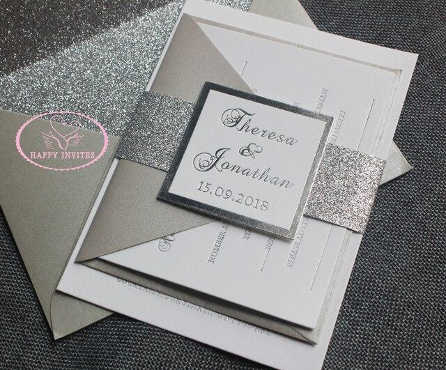 Letterpress Printing Wedding Invitations: HI1122 Silver And White Wedding Invitation Card With