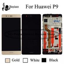 % 100% Test Siyah/Beyaz/Altın Için Huawei P9 EVA L09 EVA L19 LCD EVA AL00 Ekran + dokunmatik ekranlı sayısallaştırıcı grup Çerçeve Ile