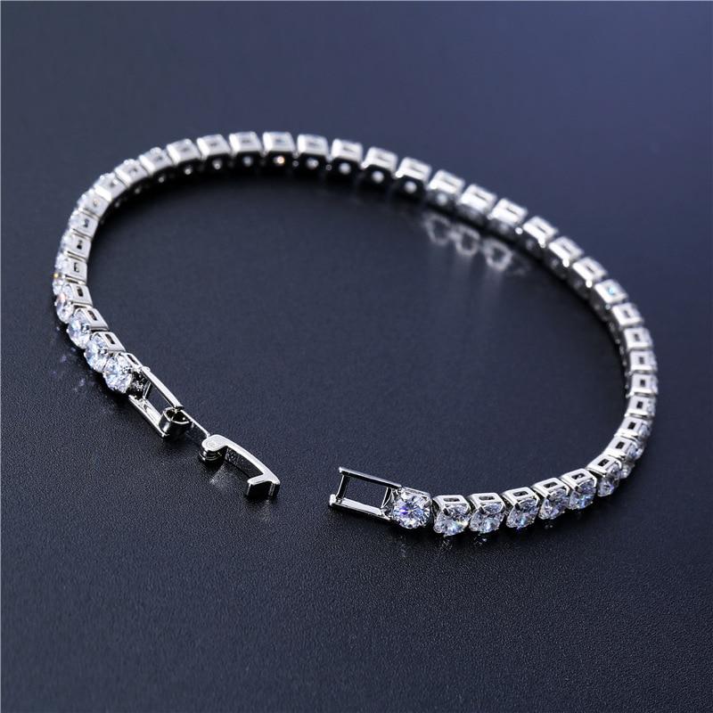Luxury 4mm Cubic Zirconia Tennis Bracelets Iced Out Chain Crystal Wedding Bracelet For Women Men Gold Silver Bracelet Jewelry 7
