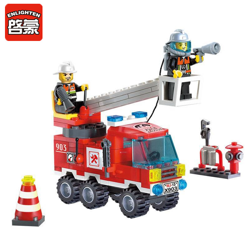 ENLIGHTEN 130pcs/set Single Bridge Fire Truck Model Building Blocks Kits Toys Assembling Educational DIY Block Sets for Children enlighten 325pcs set riot tracking car model building blocks toys for kids children educational assembling blocks diy bricks toy