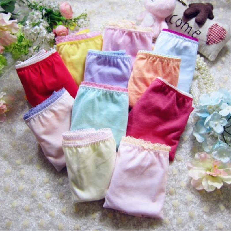 12 Pcs/pack Random Delivery  Character Girls Underwear Cotton Pinkycolor Panties Suit 2-10 Years