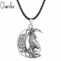 Chandler Money Wolf Celti Moon Viking Dog Necklace & Pendant Valknut Odin 's Symbol of Norse Viking Warriors Men's Accessary