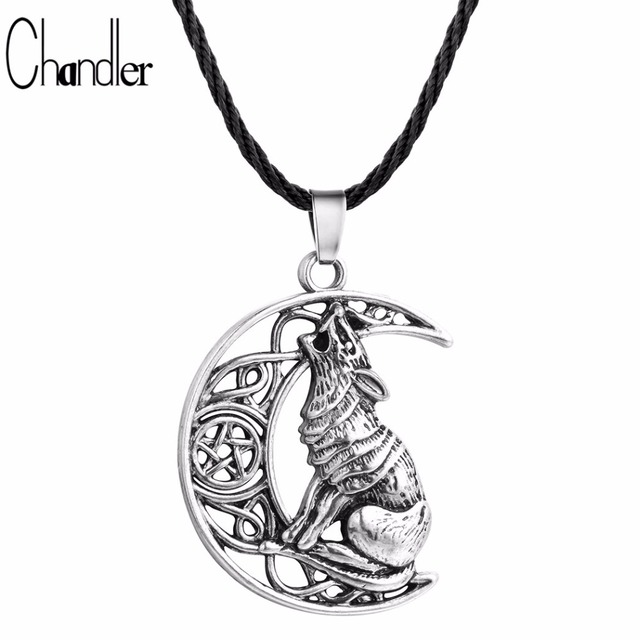 Chandler Money Wolf Celti Moon Viking Dog Necklace & Pendant Valknut Odin 's Symbol of Norse Viking Warriors Men's Accessary