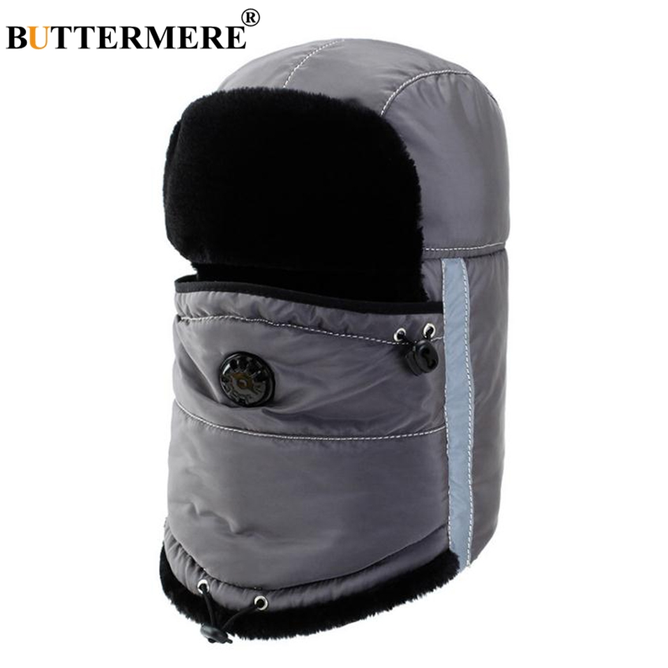 4a0b4ecfe44 BUTTERMERE Winter Hat Russian Women Gray Cotton Bomber Hats Men Warm Fur  Caps With Earflap Windproof