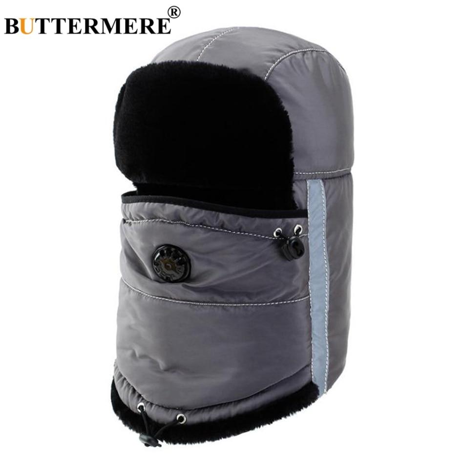 BUTTERMERE Winter Hat Russian Women Gray Cotton Bomber Hats Men Warm Fur  Caps With Earflap Windproof d46f64526766