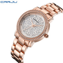 2019 New Crrju Luxury Dress Brand Fashion Watch Woman Ladies Gold Diamond Relogio Feminino Dress Clock female Relojes Mujer