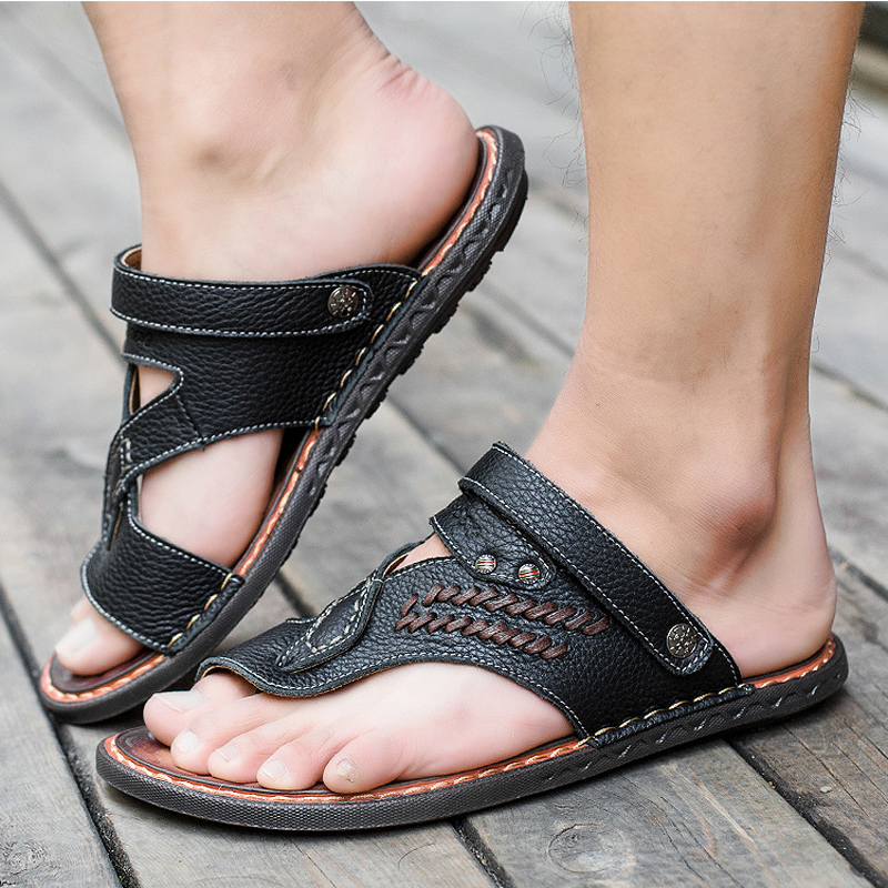 New 2019 Summer Men Sandals Genuine Leather Men Slippers Flat Non-slip Men Beach Sandals Shoes Sandalias Hombre