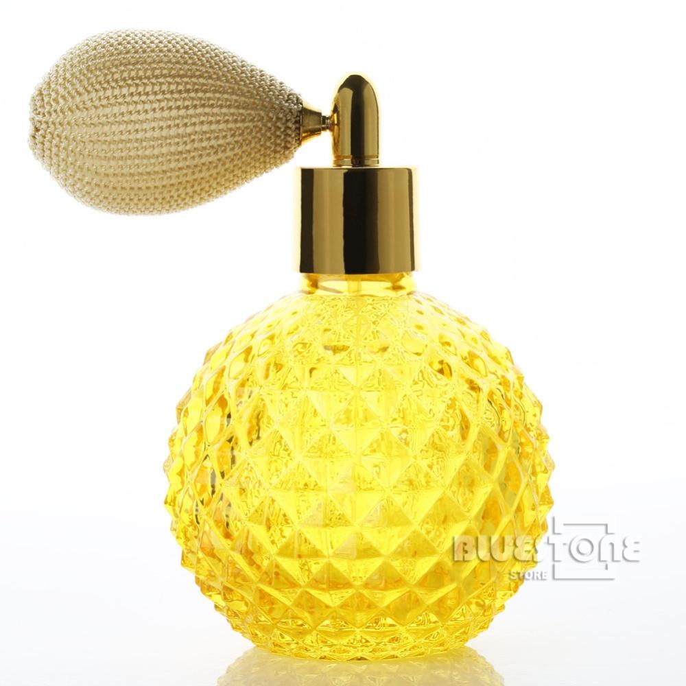 Vintage Crystal Perfume Bottle Yellow Shs