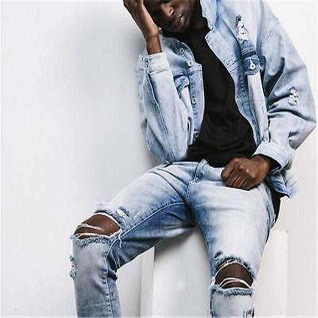 Caliente de La Manera del Mens Derecho Diseñados Slim Fit Biker Jeans Pantalones Pitillo Pantalones Vaqueros Nuevos