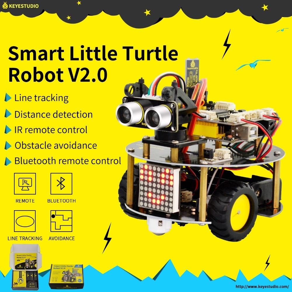 NOUVEAU! Keyestudio kit voiture Robot petite tortue intelligente V2.0 W/programmation graphique + manuel d'utilisation (anglais) pour Robot Arduino