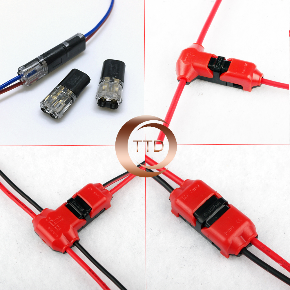 5Pcs 2PT SHAPE Spring Connector LED Strip Light Wire