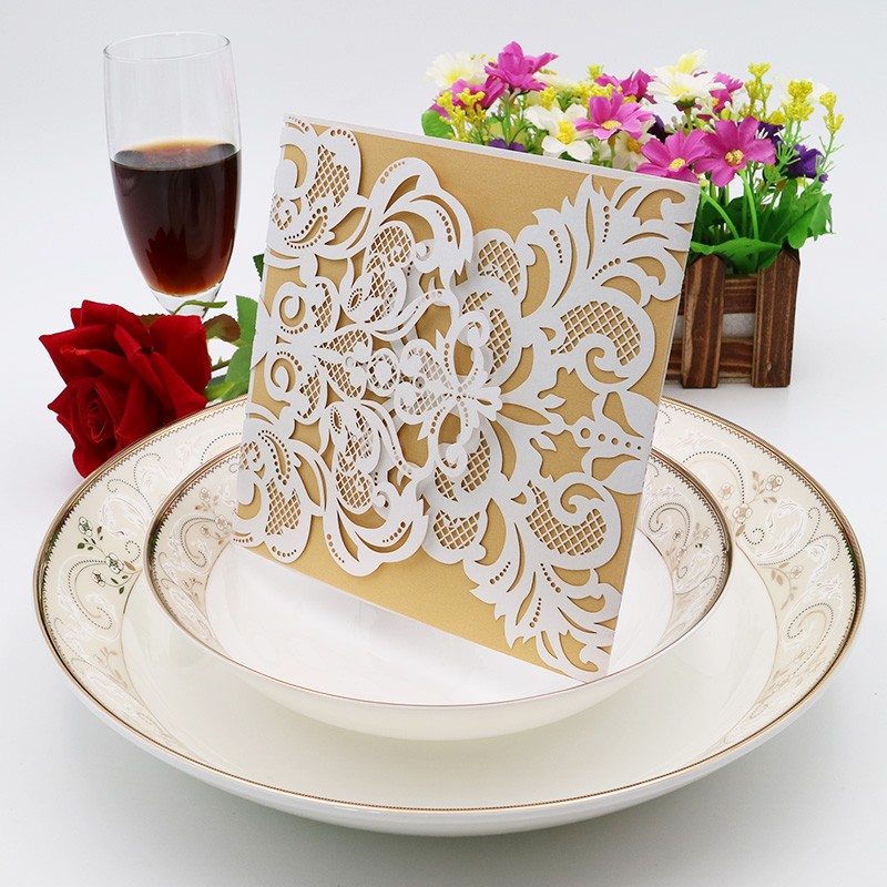 Wedding party invitation card engraved cream exquisite envelope invitation wedding / business / party / birthday 10Pcs / 5ZH51