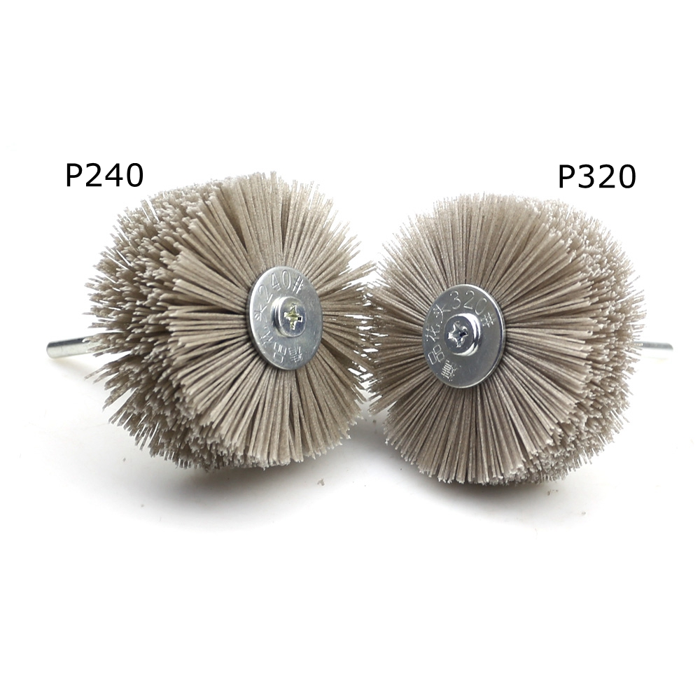 Image 2 - 4 pieces 85*35*6mm Drill Abrasive Wire Grinding Wheel Nylon Bristle Polishing Brush for Wood Furniture Mahogany Finish-in Abrasive Tools from Tools