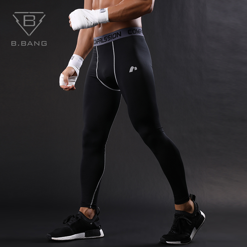 B.BANG Flexible Pants For men Bodybuilding Mans Compression base layer Pants fitness Gym Running Tight Pants Elastic Quick dry