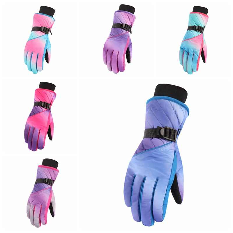 Touch Screen Winter Professional Ski Gloves Girls Boys Adult Waterproof Warm Full Finger Gloves Snow Kids Windproof Skiing Snowb
