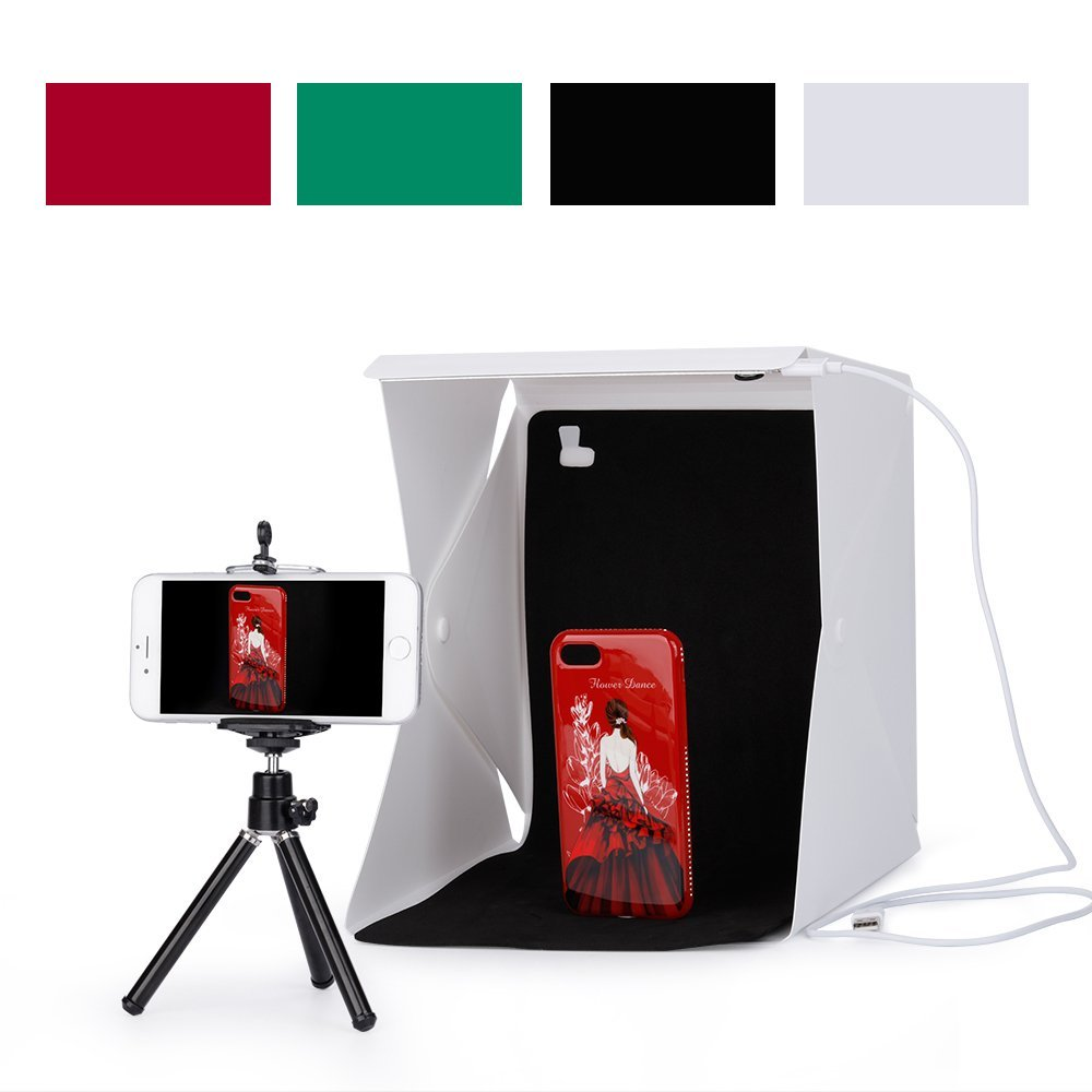 new mini folding studio light box with led foldable portable photo lighting studio 4 colors. Black Bedroom Furniture Sets. Home Design Ideas