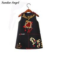Sundea Angel Baby Girls Dress 2018 Brand Princess Dresses For Girls Letter Print Round Neck Kids