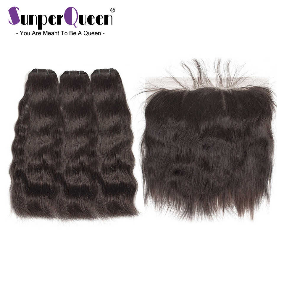 Raw Indian Virgin Mink Hair Bundles With Frontal Natural straight  Hair Weave Bundles With 13x4 Frontal Free Shipping