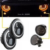 2x 7 Inch Round LED Headlights H4 Halo Amber White Angle Eyes 2x Front LED Turning