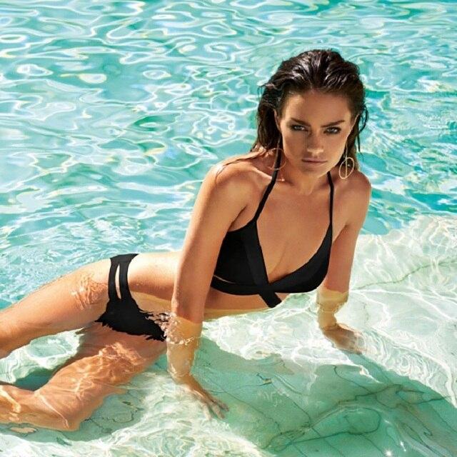 167c6931b2b2 € 10.12 25% de DESCUENTO|2019 Cruz Sexy Bikinis mujeres traje De baño Push  Up mujer traje De baño Halter traje De baño Swim Bikini Set Maillot De ...