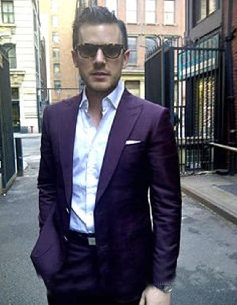 2017 Partie PantalonColor Purple D'affaires Hommes Fit Costumes Terno Masculino Pièces Slim Smokings Custom Made Occasionnels Foncé dark Costumeveste 2 Violet Formelle fyY7gb6