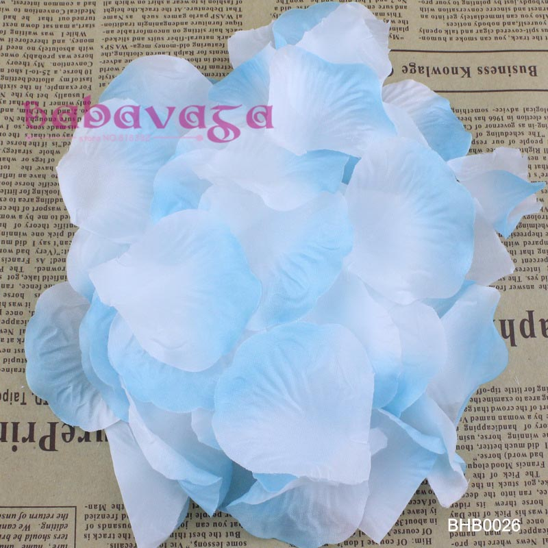 1000pcs White & Blue High Quality Silk Rose Petals For Birthday Party Decorations