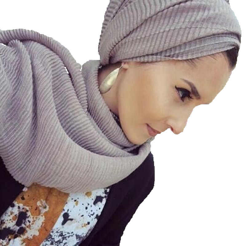 Fashion Pleated Maxi Viscose Hijabs Muslim Scarf Elegant Shawl Plain Women Wrinkle Islam Headscarf Shawls Soft Muffler 1 pc