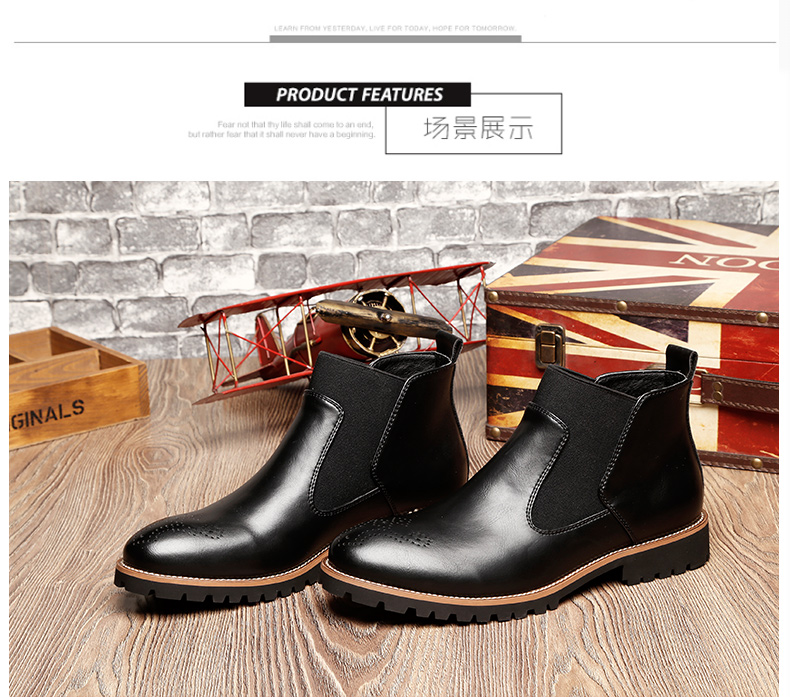 Luxury Genuine Leather Martin Boots British Carved Brogue Ankle Boots Fashion Men Boots Men's Slip-on Motorcycle Shoes Plus Size 18