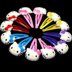 12pcs/lot Cute Hello Kitty Hair Clips Barrette Soft Plastic Snap Hairpins Cute Kids Children Elastic Hair Band Hair Accessories