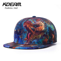 KDEAM 2017 New Summer Caps 3D Dragon Print Desgin Fashion Men Baseball Cap Women Beach Hat