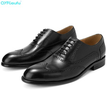 QYFCIOUFU High Quality Men Brogue Fashion Oxford Dress Shoes Male Well-dressed Gentleman Handcrafted Footwear For Italian Shoes