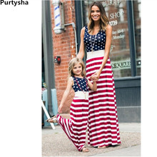 hot deal buy 2018 summer matching outfits mother daughter polka dot vest striped long dresses mommy and me clothes big sister little sister
