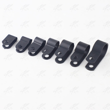 """100PCS 6.4mm R-Type Nylon Cable Clamp 1/4"""" black R-Type Cable Clamp Cable Clips Free Shipping"""