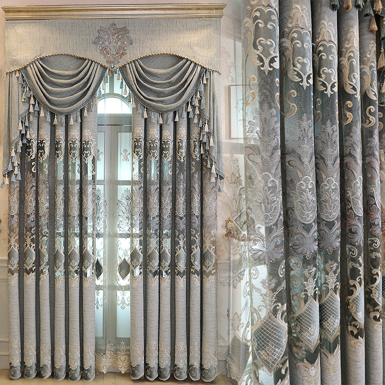 Dining Room Valances: New European Luxury Gray Curtains For Living Dining Room